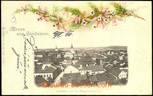 39858 - 1900 Lanškroun, color collage lithography, view of town, lo
