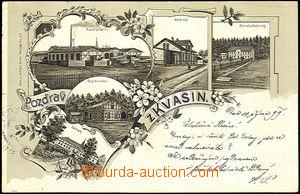 39863 - 1899 Kvasiny, jednobarevná kolážová lito, vícezáběrov