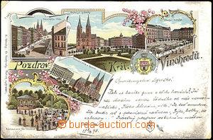39869 - 1898 Praha Královské Vinohrady, barevná lito, vícezábě