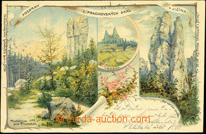 39873 - 1900 Prachov rocks, color lithography, 3-views collage, long