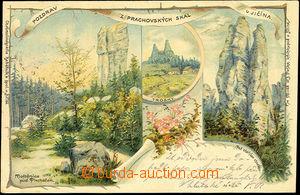 39873 - 1900 Prachovské skály, barevná lito, 3-záběrová kolá�