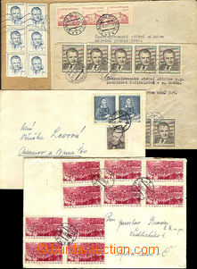 39987 - 1953 comp. 5 pcs of letters with frankings stamp. on face-si