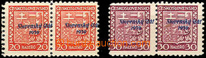 39995 - 1939 Alb.4 + 6, overprint Coat of arms 2x pair with horiz. s