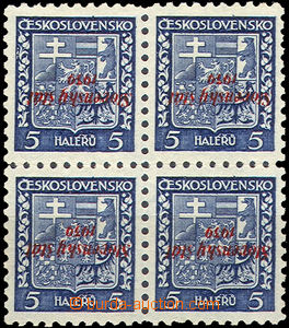 39998 - 1939 Alb.2PP, overprint 5h Coat of arms as blk-of-4 with inv