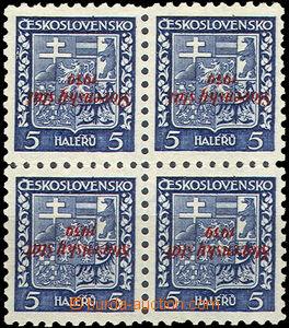 39998 - 1939 Alb.2PP, přetisková 5h Znak ve 4-bloku s převráceným př