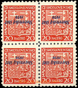 39999 - 1939 Zsf.4PP, overprint Coat of Arms with inverted oberprint