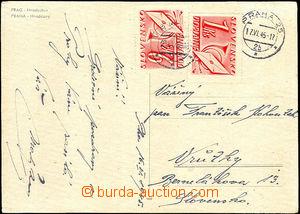 40017 - 1945 zcela nevyplacená pohlednice s DR PRAHA/ 17.VI.45 adres