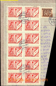 40019 - 1946 cut square from cards check orders, with Pof.368 + blk-