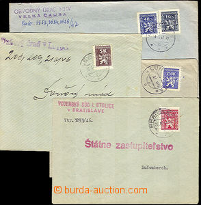 40021 - 1946 - 47 comp. 4 pcs of official letters from Slovakia fran