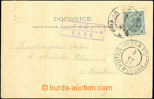 40028 - 1902 postcard Vyšehradu, long address, with postal agency p