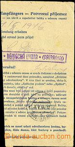 40037 - 1946 ústřižek balíkové průvodky s fialovým raz. pošt