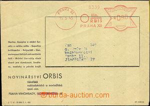 40126 - 1945 firemní obálka vyplacená OVS Praha 31/ ORBIS Praha/