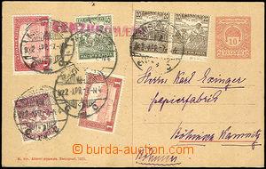 40139 - 1922 dopisnice 10f, Mi.P72, bohatě dofrankovaná Mi.2x 196,