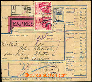 40233 - 1944 CPP5 Ex parcel card without L cut, uprated with stamp A