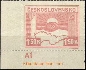 40240 - 1945 Pof.353b, Košice-issue 1,50 Koruna light, corner piece