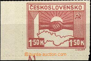 40241 - 1945 Pof.353a, Košické 1,50K hnědokarmínová, rohový kus s DZ
