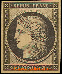 40258 - 1849 Mi.3y Ceres, yellow paper, wide margins, label, small t