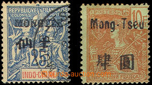 40279 - 1902-06 MONGTZE Mi.25 and Mong-Tseu Mi.49/II,  hinge / label