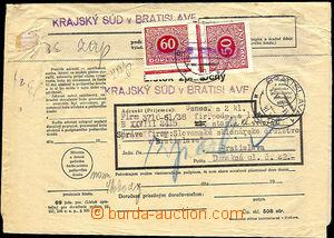 40324 - 1939 celá soudní obsílka, vylepeny předběžné doplatn�