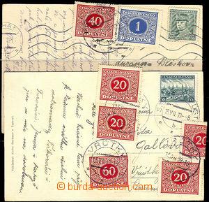 40325 - 1939 2ks pohlednic zaslaných z Čech na Slovensko zatížen