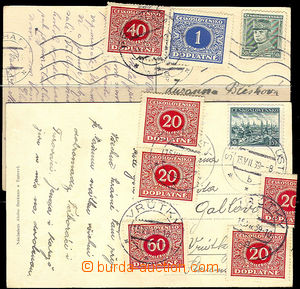 40325 - 1939 2 pcs of Ppc sent from Bohemia to Slovakia burdened by