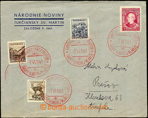 40348 - 1941 SLOVAKIA  franked with. commercial envelope with 4 prin