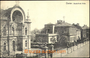 40386 - 1919 Čáslav - Rudolf's road with synagogue. Un, bumped cor