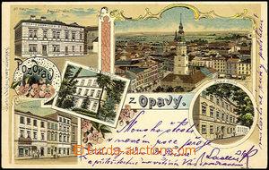 40550 - 1900 Opava,   litografie, Besední dům, gymnasium, Dolní n