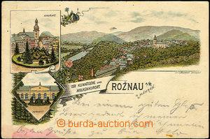 40587 - 1896 Rožnov pod Radhoštěm,  litografie, náměstí, lázn