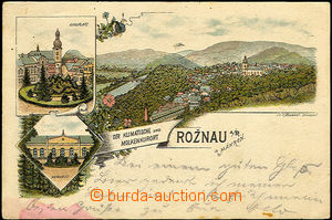 40587 - 1896 Rožnov pod Radhoštěm,  lithography, square, bath, ge
