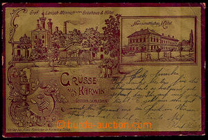 40588 - 1901 Karviná,  brewery and hotel, postcard with gold plastic