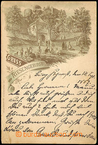 40600 - 1887 Gruss vom Riesengebirge, long address, Us, broken corne