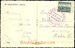 40603 - 1939 postcard franked with. forerunner Czechosl. stmp Pof.34