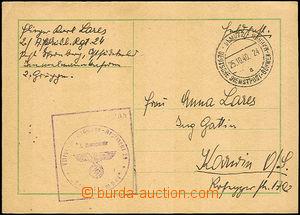 40616 - 1940 card sent via German Service post, CDS Olmütz/ German
