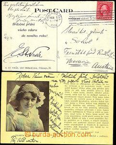 40635 - 1914 VRÁZ  E.St.  cestovatel,  soukromá pohlednice z USA,