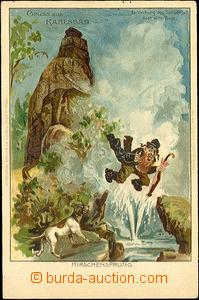 40655 - 1900 Gruss aus Karlsbad, karikatura Žida, Objev Vřídla podle