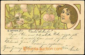 40705 - 1901 DÖCKER E.: litografie, secese, obličej dívky, v poza
