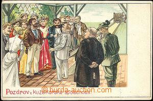 40787 - 1900 SKITTLES,  salute from kuželkářské company, lithogr