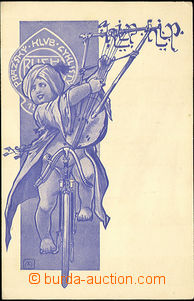 40922 - 1905? CYCLING,  promotional card Prague club cyclists, small