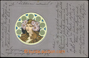 40953 - 1900 Girl with flowers in hair, Art Nouveau collage, embosse