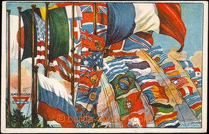 40960 - 1915? Y.M.C.A. postcard with printings flags countries bojuj