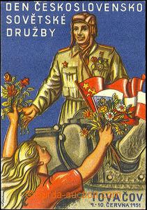 40974 - 1951 color postcard, Day Czechoslovak - Soviet friendship in