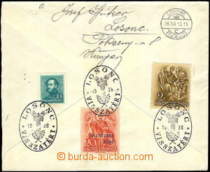 41067 - 1938 letter to Prague on reverse franked with. Hungarian sta