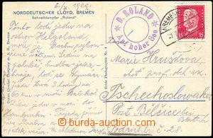 41121 - 1929 NĚMECKO  NORDDEUTSCHER LLOYD, BREMEN, pohlednice zasla