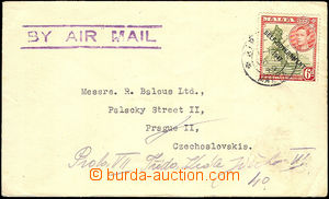 41124 - 1949 airmail letter to Czechoslovakia, with Mi.207, partial
