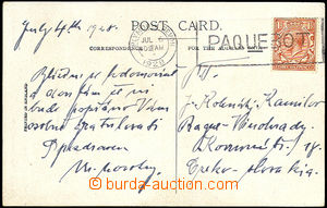 41125 - 1928 postcard with Mi.156, MC Plymouth Devon/ PAQUEBOT/ Jul.