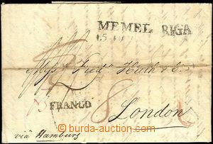 41130 - 1826 skládaný dopis adresovaný do Londýna via Hamburg, s