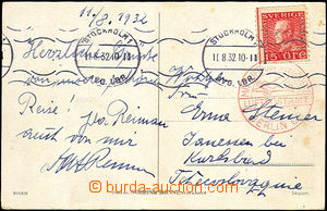 41139 - 1932 air postcard to Czechoslovakia, with Mi.179, MC Stockho