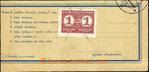 41160 - 1937 cut parcel dispatch-note with revenue 50h, franked on f