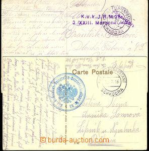 41179 - 1916 2x pohlednice prošlá EPA SCHKODRA (b, -), 1x 2-řádk